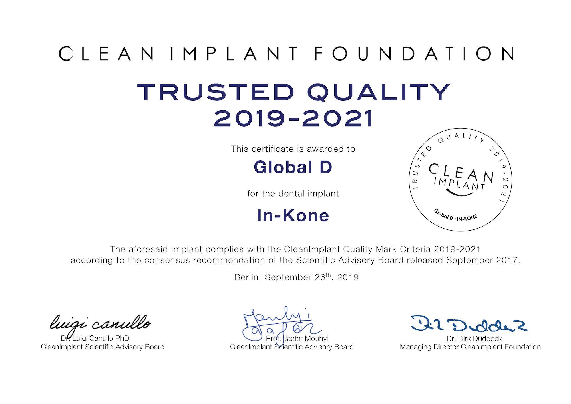 Temas clínicos_Carga inmediata_Certificado Trusted Quality In-Kone®