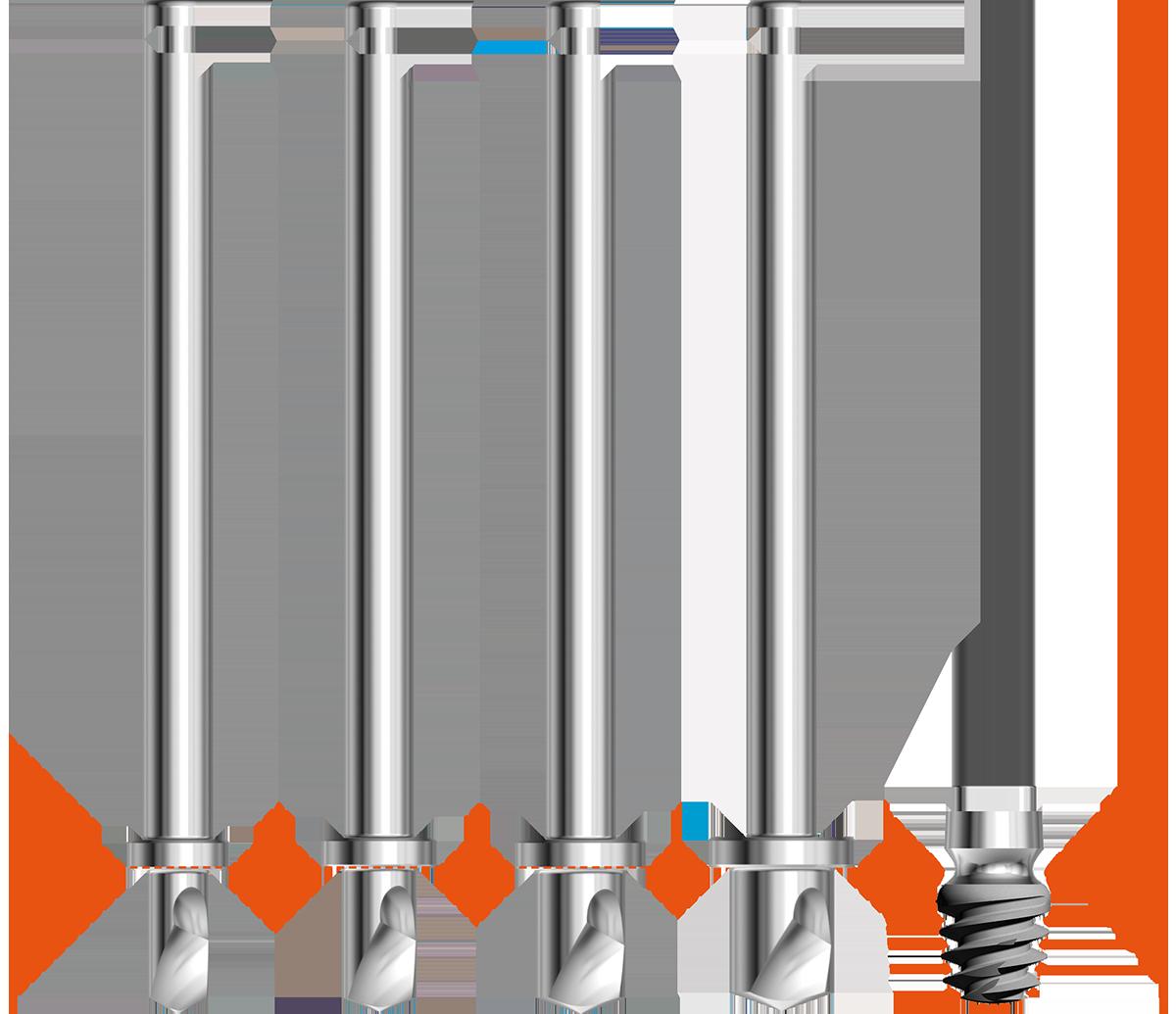 Frese e stop di profondità integrati - Kit chirurgico twinKon®4