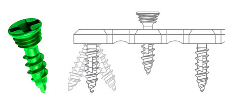 Carcitek self-locking screw and diagram showing the possible positions of a screw