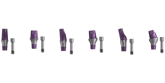 Short abutments and healing screws for In-Kone® dental implants