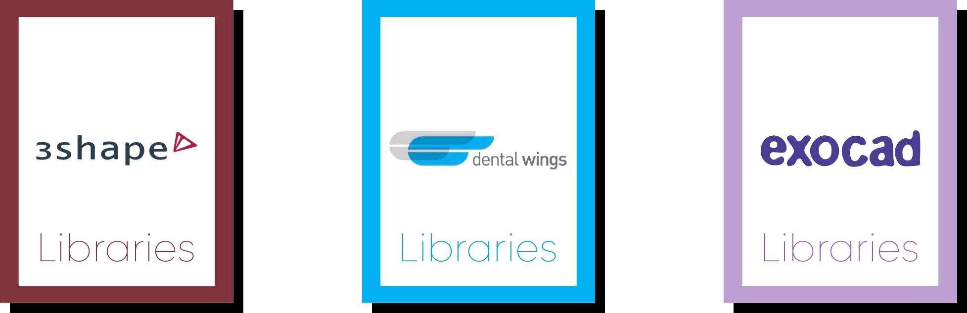 Logiciels de planification : 3shape, Dental wings, Exocad